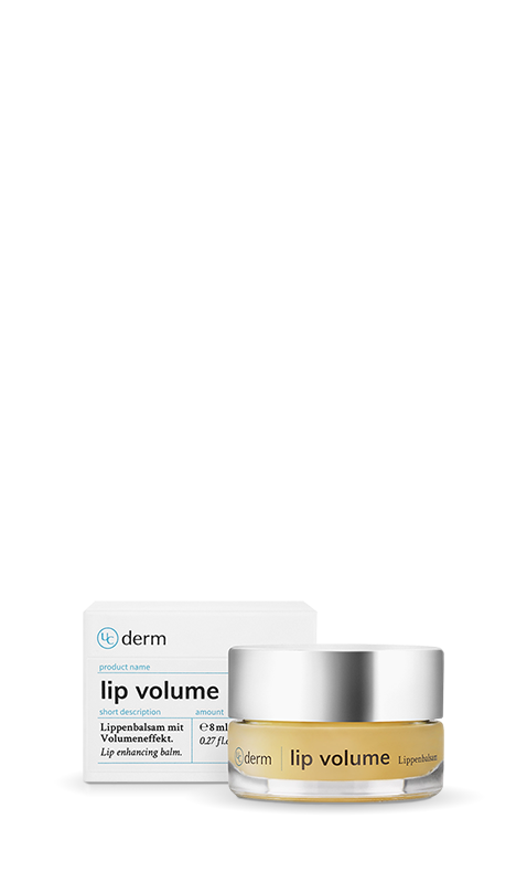 UniCare product image of the UCderm lip volume packaging, folding box and glass jar