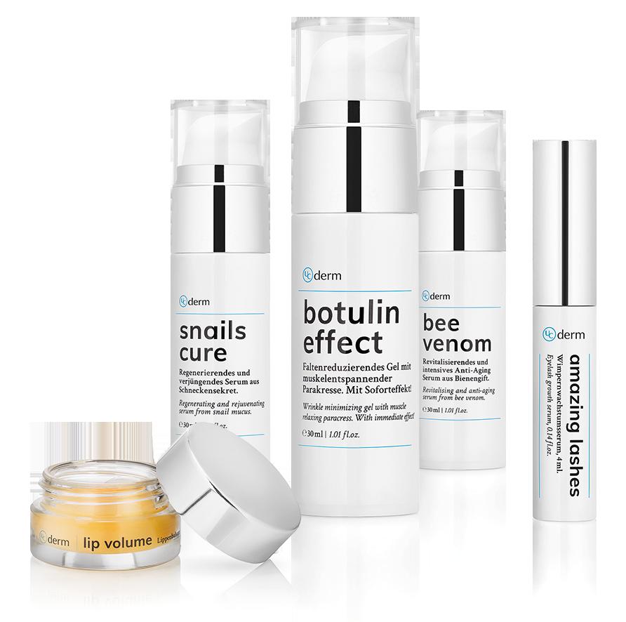 UCderm Verpackungen von amazing lashes, botulin effect, snails cure. lip volume und bee venom zusammengestellt als Gruppe