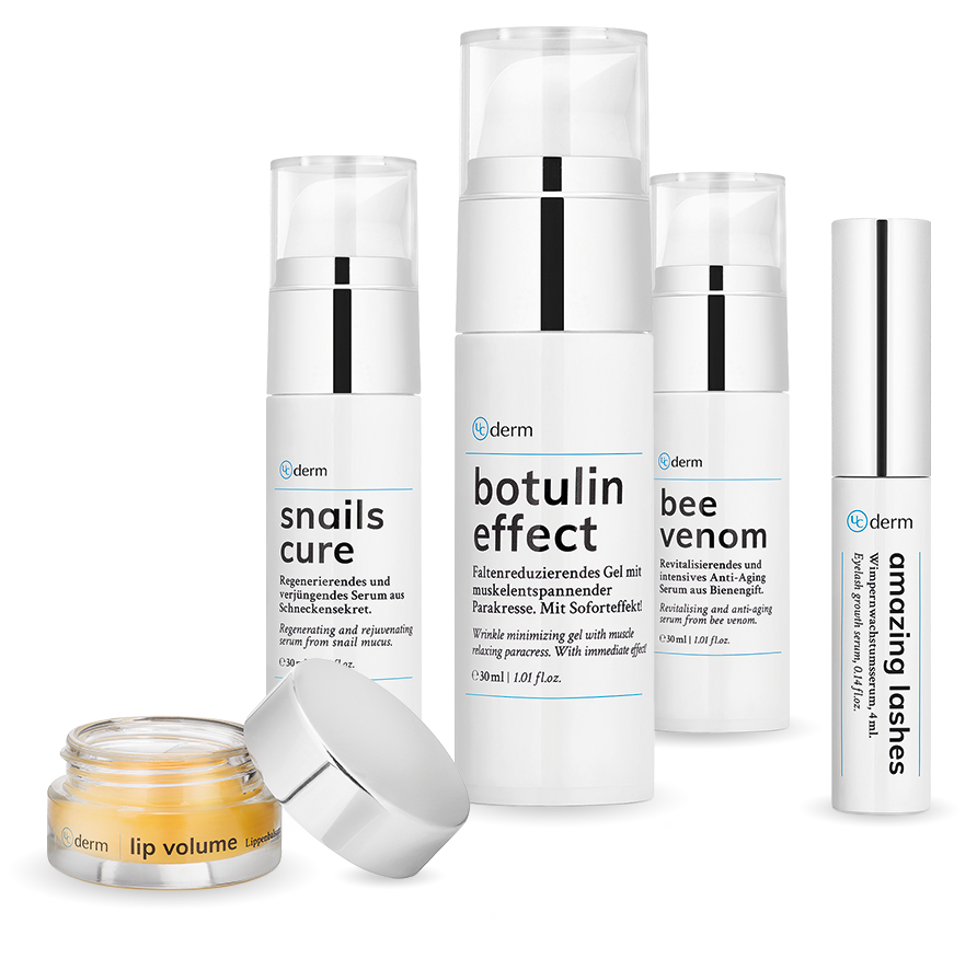 UCderm packaging of amazing lashes, botulin effect, snails cure. lip volume and bee venom grouped together as a group